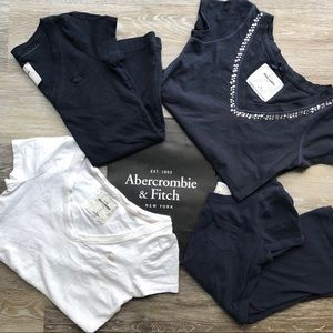 abercrombie kids Shirts & Tops - Girls Abercrombie Cotton Navy Bling V Neck Tee